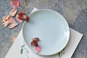 Dried petals on plate and floral frame on paper on stone background.