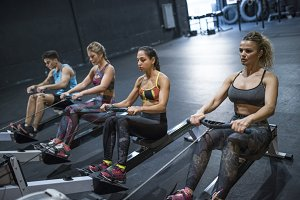 Rowing at gym