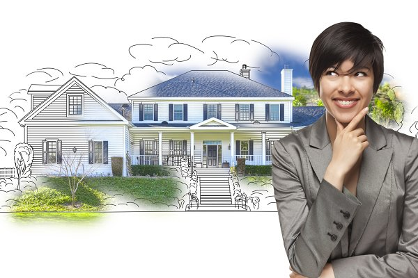 Mixed Race Female Over House Drawin…