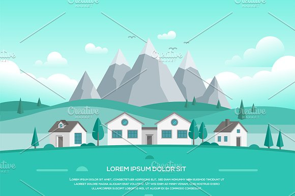 Landscape With Houses By The Mountains Modern Vector Illustration