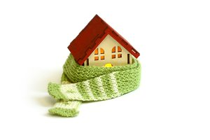 Wooden house in scarf