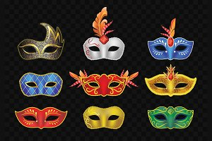 Carnival Masks - vector set of face garment