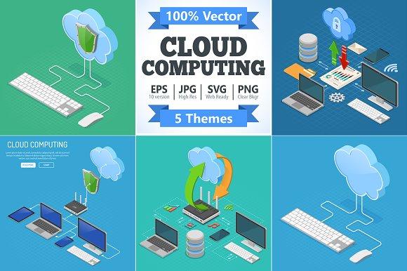Cloud Computing Technology Isometric