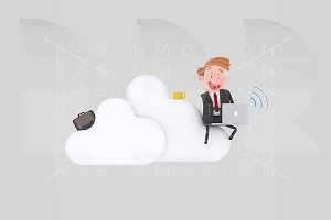 Business man working on clouds