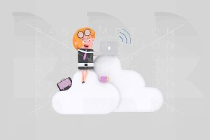 Business woman working on clouds