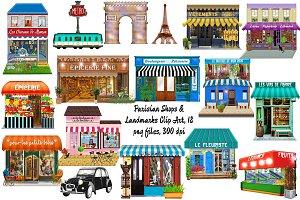 Paris Boutiques & Landmarks ClipArt