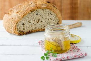 Canned tuna in glass jar with loaf