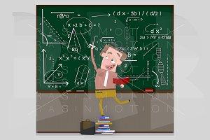 Teacher writing maths formula on cha