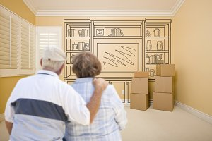 Senior Couple Facing Shelves Drawing