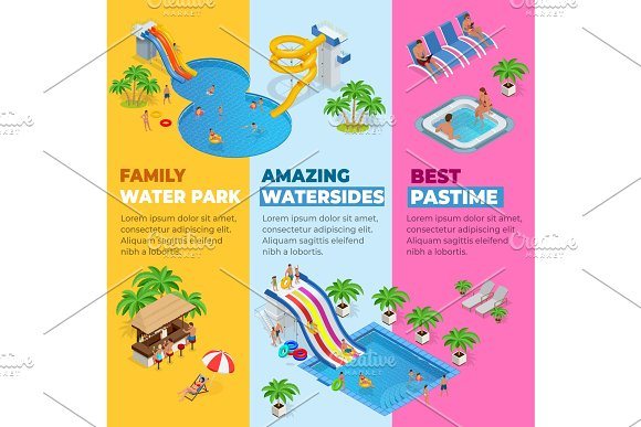 Aquapark Vertical Web Banners With Different Water Slides Family Water Park Hills Tubes And Pools Isometric Vector Illustration Design For Web Site Advertising Banner Poster Board And Print