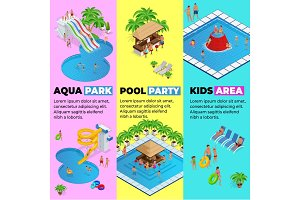 Aquapark vertical web banners with different water slides, family water park, hills tubes and pools isometric vector illustration. design for web, site, advertising, banner, poster, board and print