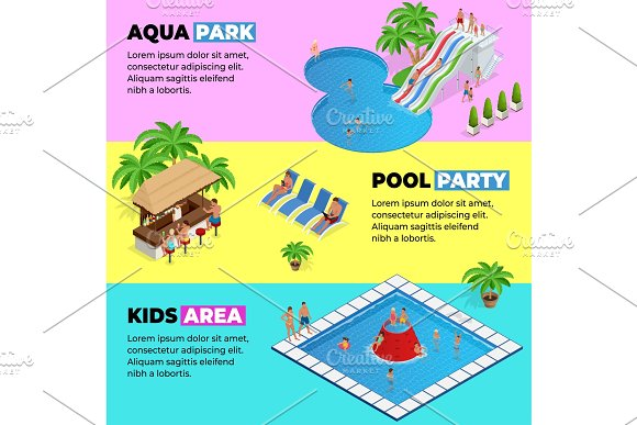 Aquapark Horizontal Web Banners With Different Water Slides Family Water Park Hills Tubes And Pools Isometric Vector Illustration Design For Web Site Advertising Banner Poster Board And Print