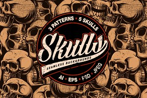 Skull seamless pattern (bundle)