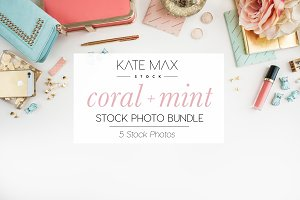 Coral + Mint Stock Photo Bundle