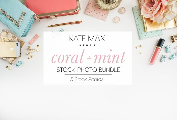 Coral Mint Stock Photo Bundle