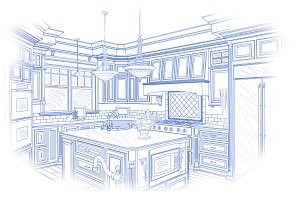 Custom Kitchen Drawing In Blue