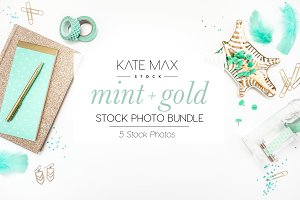 Mint + Gold Stock Photo Bundle