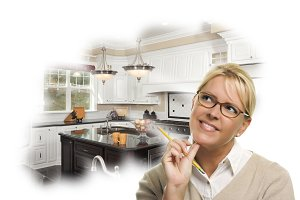 Woman Dreaming of New Kitchen