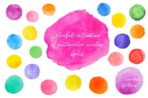 Cute watercolor circles spots .