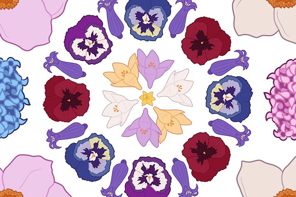 Pastel Spring Flowers Clip Art Set