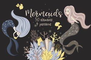 Cute mermaids set