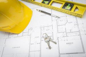 Hard Hat, Tools & Keys on Plans