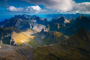 Hermannsdalstinden Summit in Lofoten, Norway
