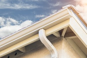 House with New Seamless Rain Gutter