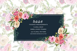 Watercolor Pink & Peach Roses