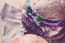 Two burgers close up