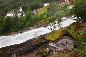 A rushing river in Norway