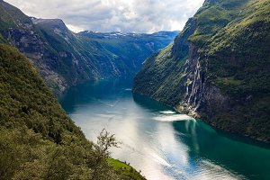 Seven Sisters Waterfall Over The Geiranger
