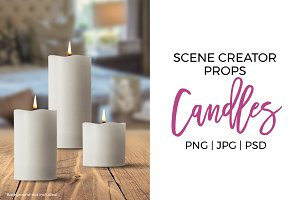 Scene Creator Props - White Candles