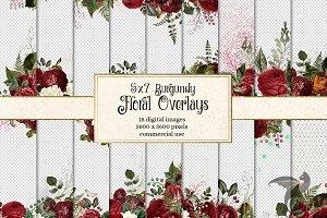 5x7 Burgundy Floral Overlays
