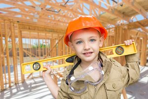 Boy Contractor at Construction Site