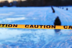 Caution or warning sign of drowning