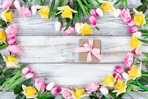 Heart of Flowers with Gift Box