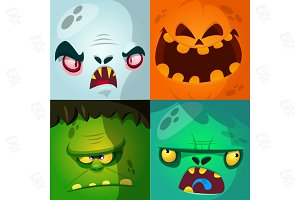 Cartoon monster faces (vector)