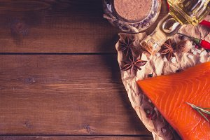 Salmon on wooden background