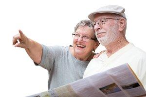 Happy Senior Adult Couple Tourists