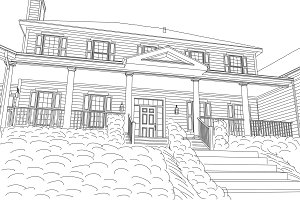 Beautiful Custom House Drawing on a