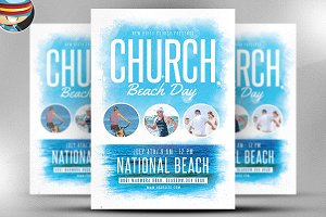 Church Beach Day Flyer Template