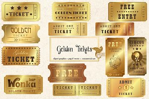 Golden Tickets Vector Clipart
