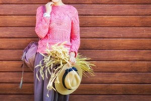 Woman and straw hat