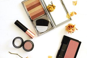 Beauty flat lay with makeup products