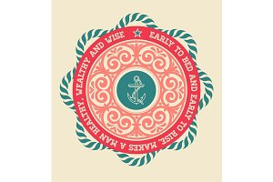 Retro label with nautical elements
