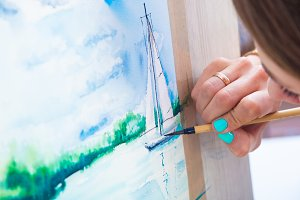 Woman paint watercolor yacht