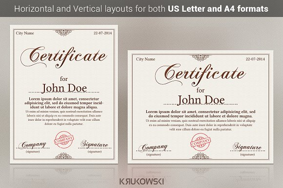20 certificate templates pack stationery templates creative market yelopaper Images