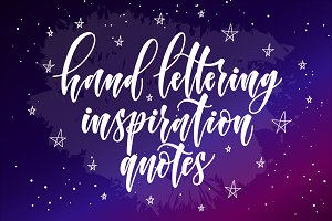 inspiration hand lettering quote set