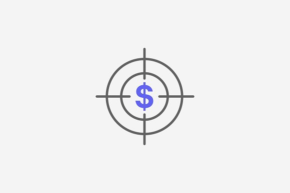 Dollar Sign Target Outline Icon
